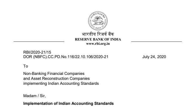 Instruction Related to Indian AS to be Followed by the NBFCs Issued by RBI