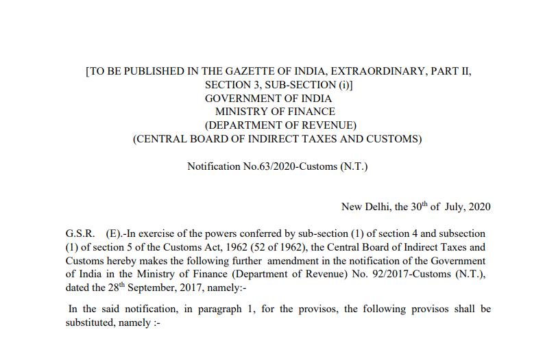 Notification No.63/2020-Customs (N.T.)