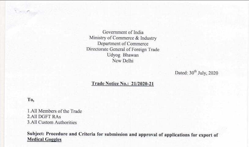 Trade Notice No. 21/2020-21