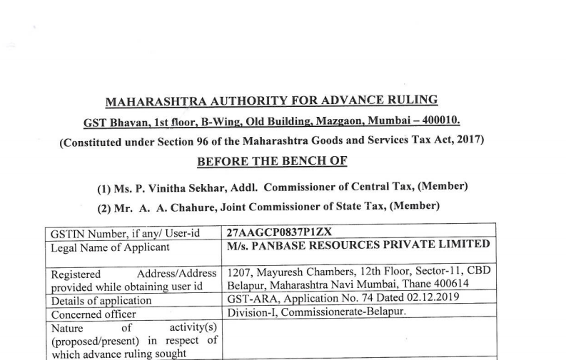 Maharashtra AAR in the case of M/s. Panbase Resources Private Limited