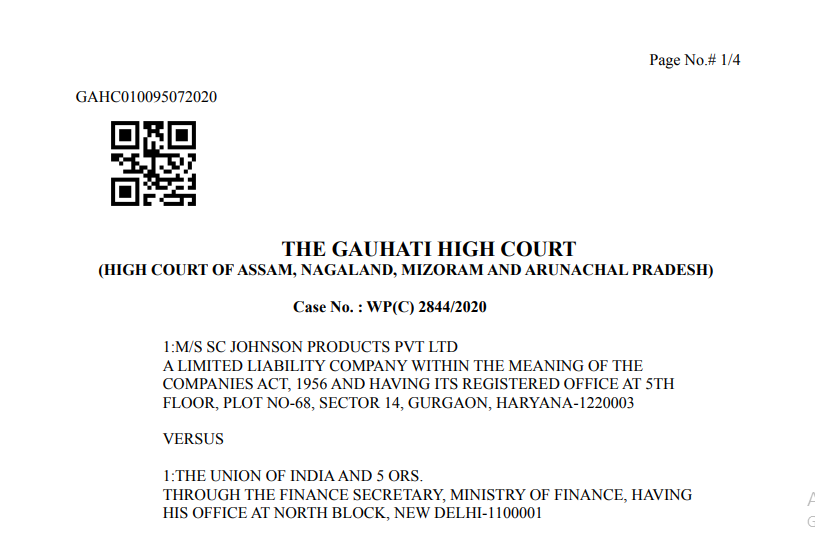 Gauhati HC in the case of M/s SC Johnson Products Pvt Ltd