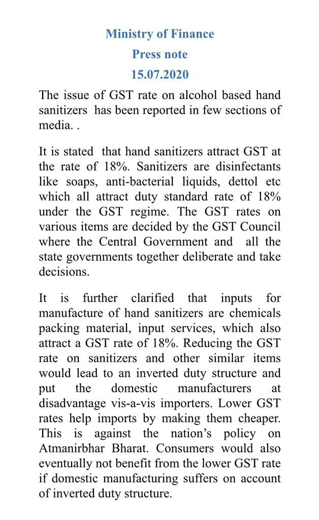 Why GST on hand sanitizers is 18%
