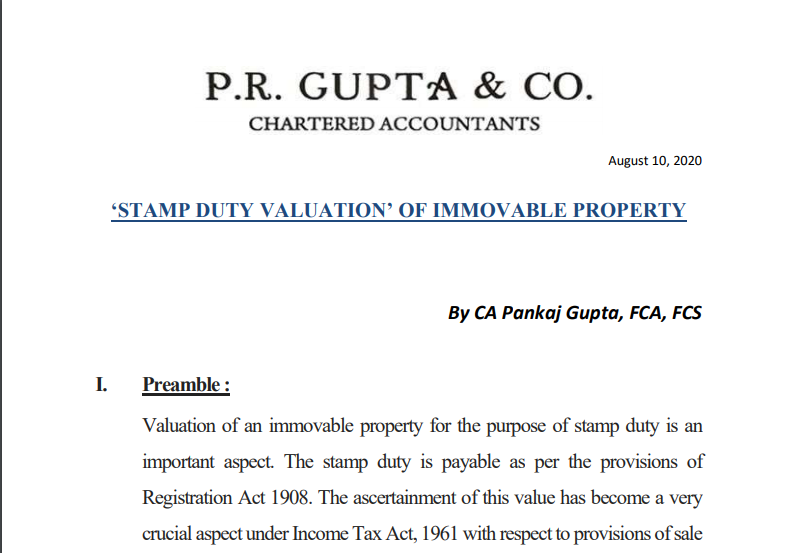Stamp Duty Valuation of Immovable Property.