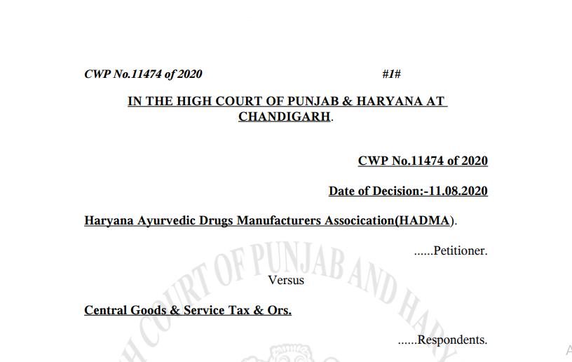 P&H HC in the case of Haryana Ayurvedic Drugs Manufacturers Association