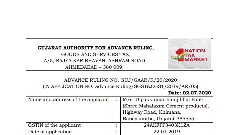 Gujarat AAR in the case of M/s. Dipak Kumar Ramjibhai Patel