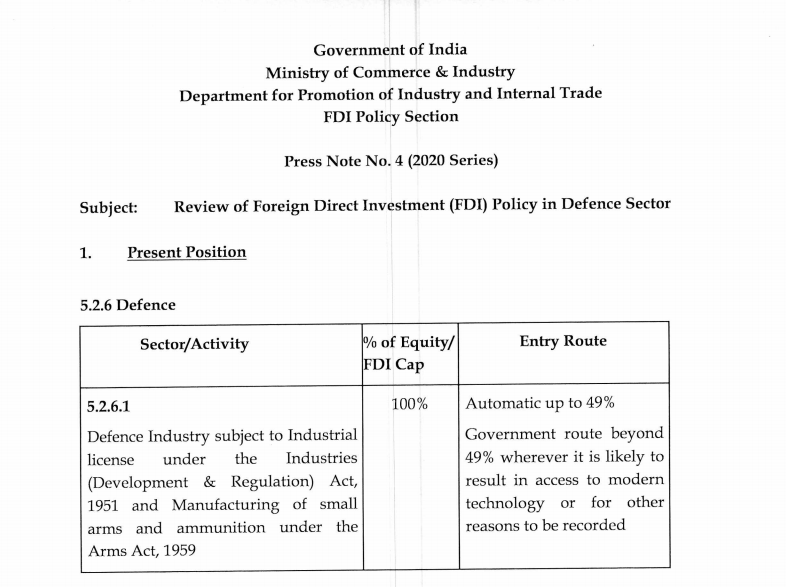 Review of Foreign Direct Investment (FDI) Policy in the Defence Sector.