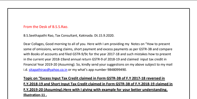 Notes on GSTR-9/9C for the F.Y 2018-19 with Ex-11