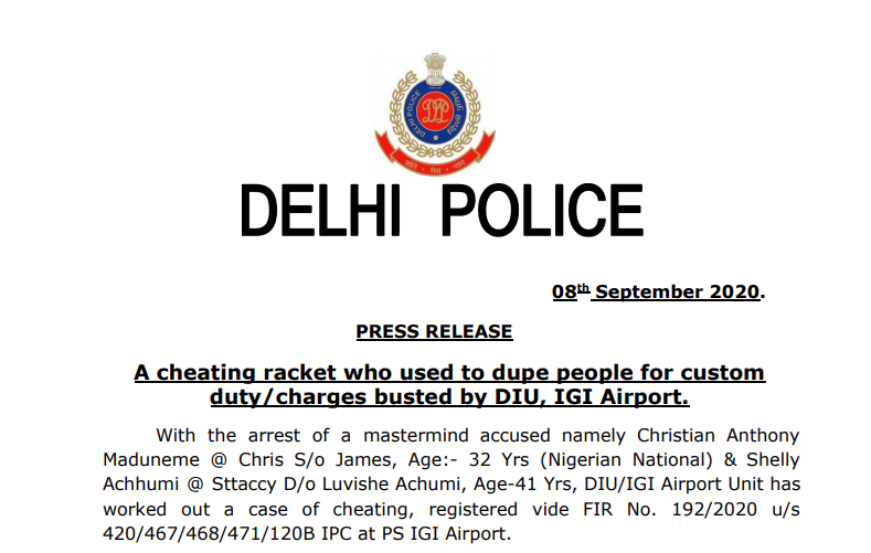 A cheating racket who used to dupe people for custom duty/charges busted by DIU, IGI Airport.