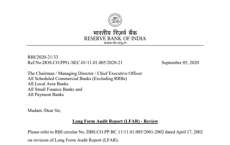 Rbi 2020 21 33 Ref No Dos Co Ppg Sec 01 11 01 005 2020 21 September 05 2020 The Chairman Managing Director Chief Executive