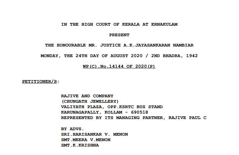 Kerala HC in the case of Rajive And Company Versus The Assistant Commissioner