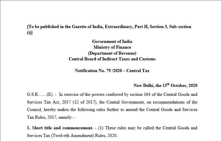 Notification No. 79 /2020 – Central Tax