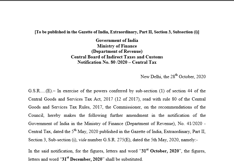 Notification No. 80 /2020 – Central Tax.