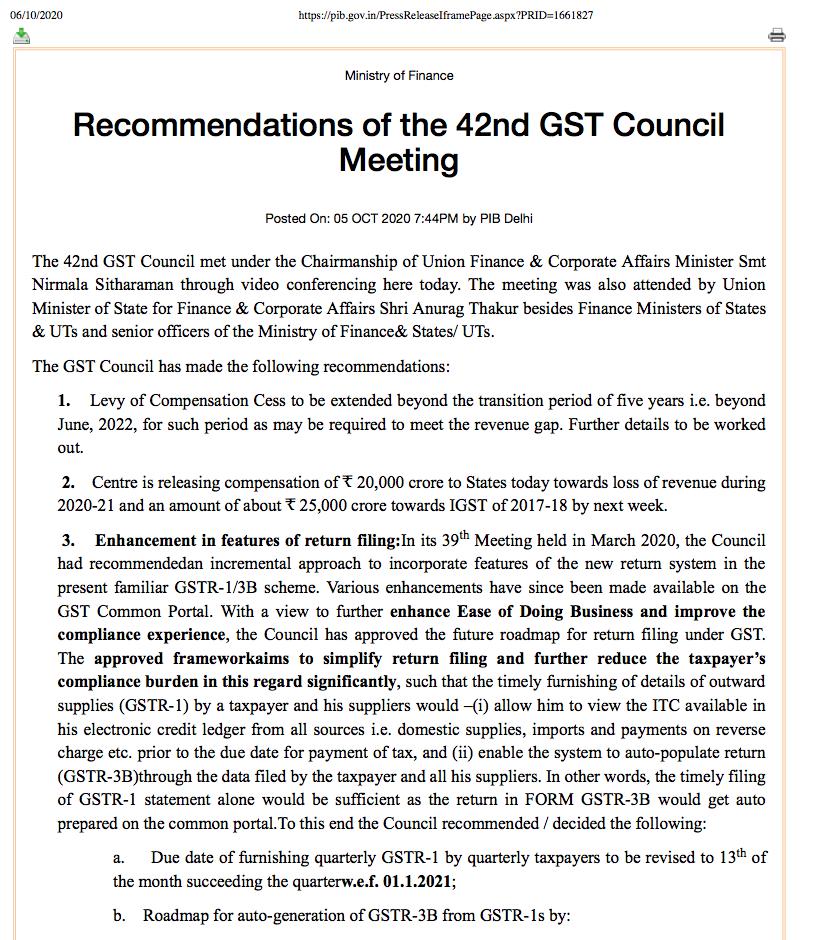 changes in GST returns