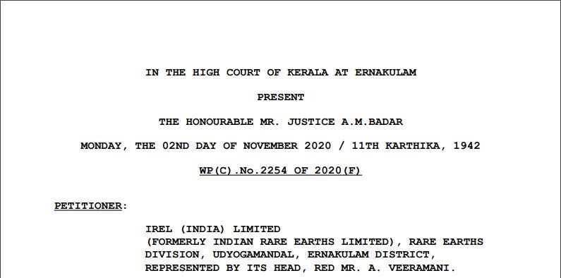 Kerala HC in the case of IREL (India) Limited Versus P. N. Raghava Panicker