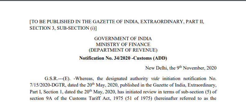 Notification No. 34/2020 -Customs (ADD)