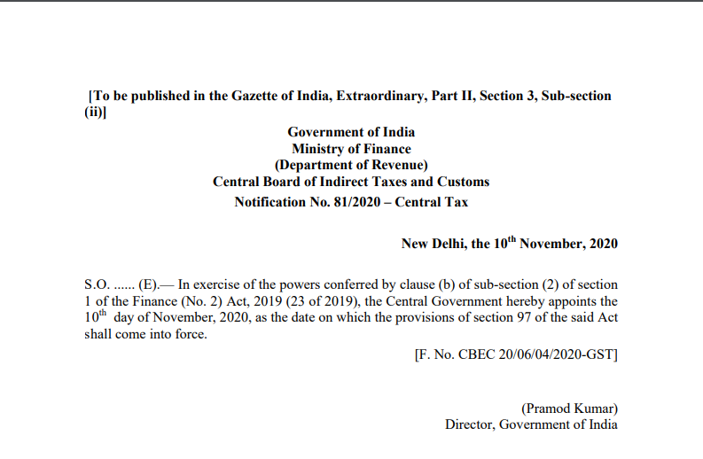 Notification No. 81/2020 – Central Tax