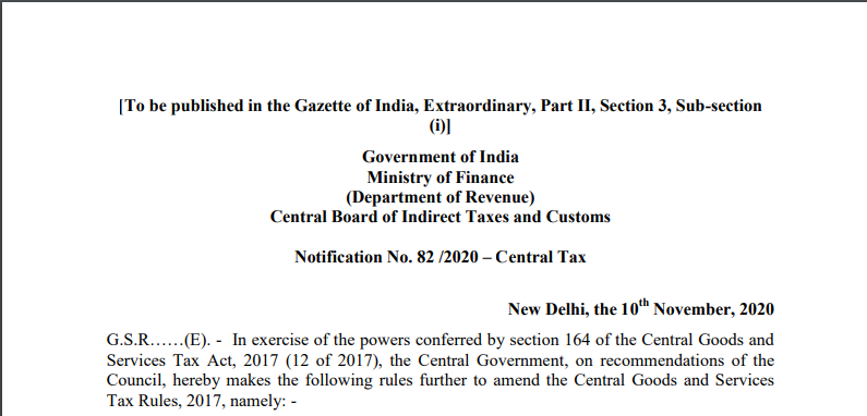 Notification No. 82 /2020 – Central Tax