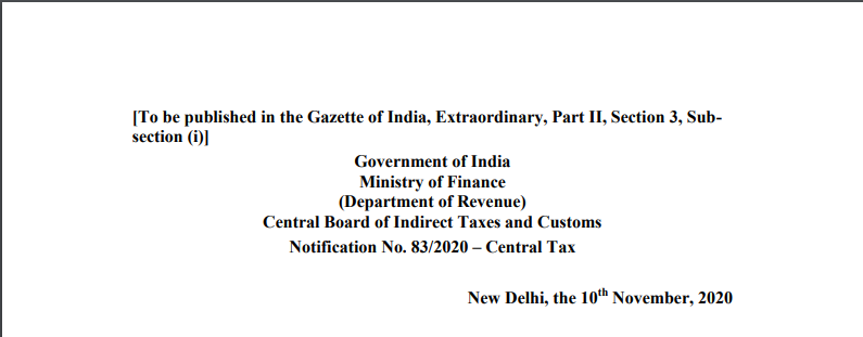 Notification No. 83/2020 – Central Tax