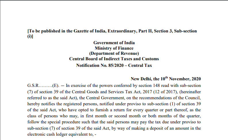 Notification No. 85/2020 – Central Tax