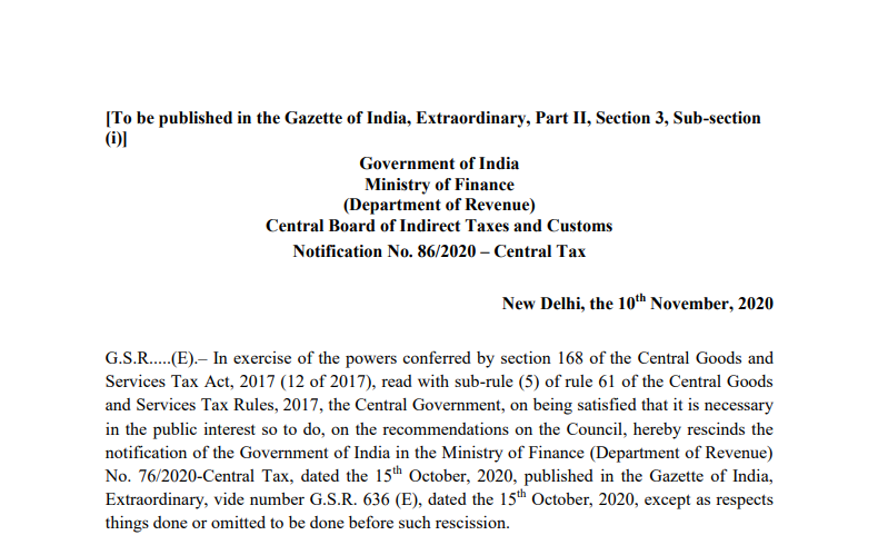 Notification No. 86/2020 – Central Tax