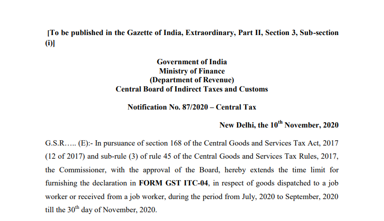 Notification No. 87/2020 – Central Tax