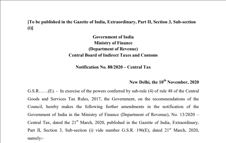 Notification No. 88/2020 – Central Tax