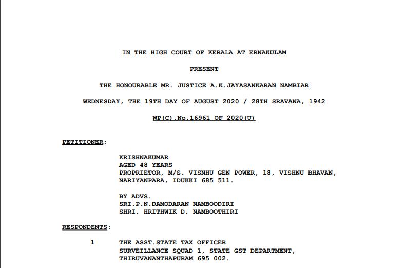 Kerala HC in the case of Krishnakumar Versus The Asst. State Tax Officer