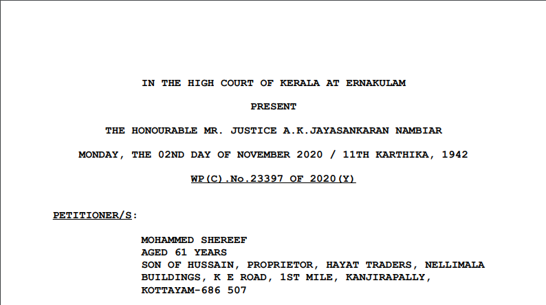 Kerala HC in the case of Mohammed Shereef Versus The State of Kerala
