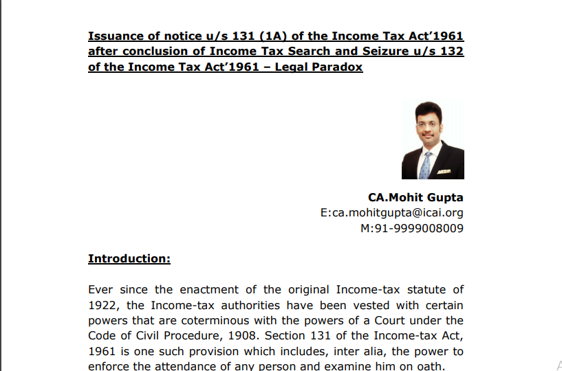 Issuance of notice u/s 131 (1A) of the Income Tax Act 1961