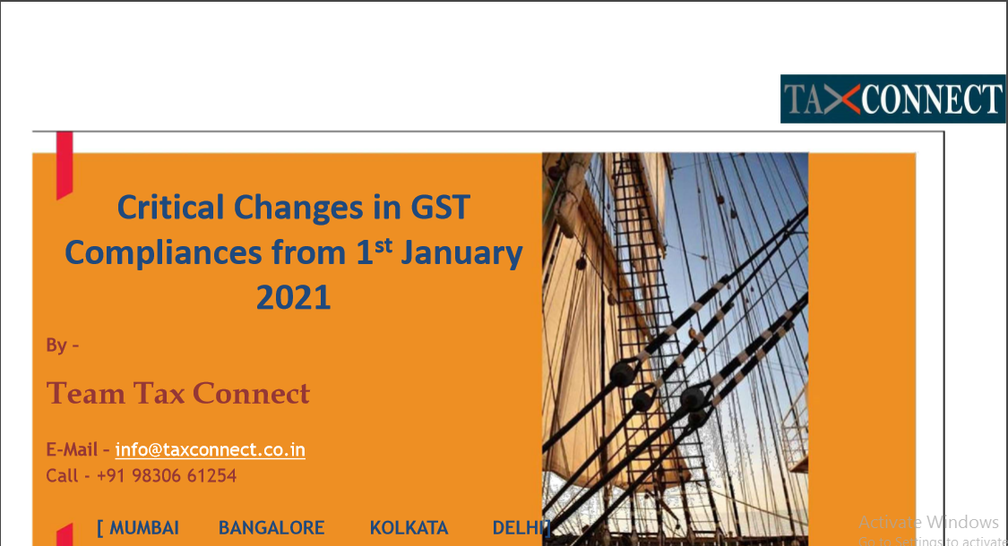 Critical Changes in GST Compliances from 1st January 2021.