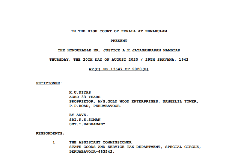 Kerala HC in the case of K.U.Niyas Versus The Assistant Commissioner.