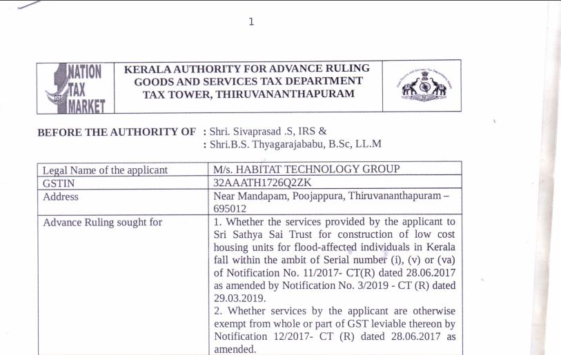 Kerala AAR in the case of M/s. Habitat Technology Group.