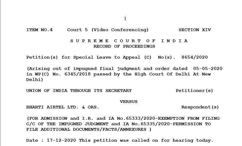 Supreme Court in the case of Union of India Versus Bharti Airtel Ltd.