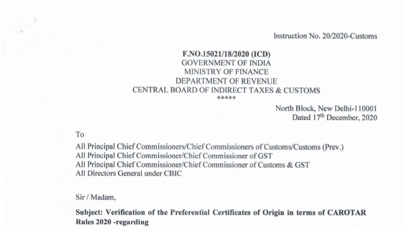 Verification of the Preferential Certificates of Origin in terms of CAROTAR Rules 2020: CBIC