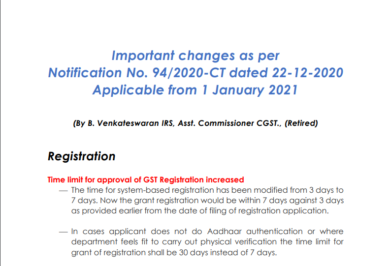 Important changes as per Notification No. 94/2020-CT dated 22-12-2020 Applicable from 1 January 2021