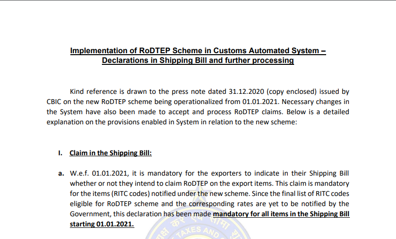Implementation of RoDTEP Scheme in Customs Automated System – Declarations in Shipping Bill and further processing.