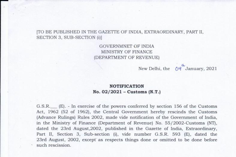 Notification No. 02/2021–Customs (N.T.)