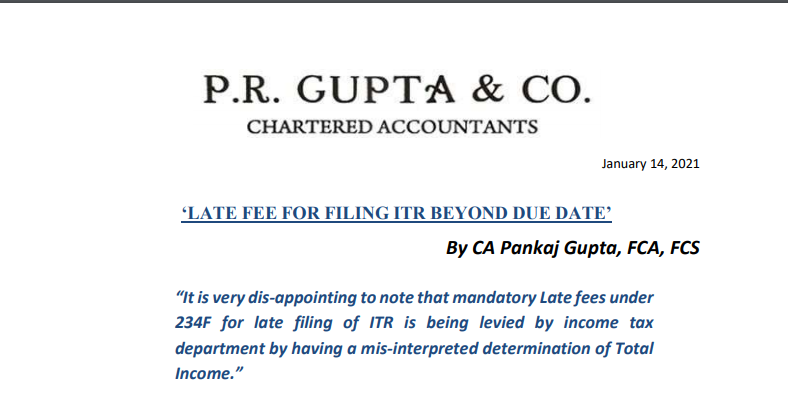 Late Fees on Filing of ITR Beyond Due Date