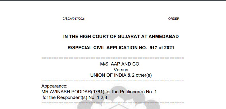 Gujarat HC in the case of M/s. AAP And Co. Versus Union of India