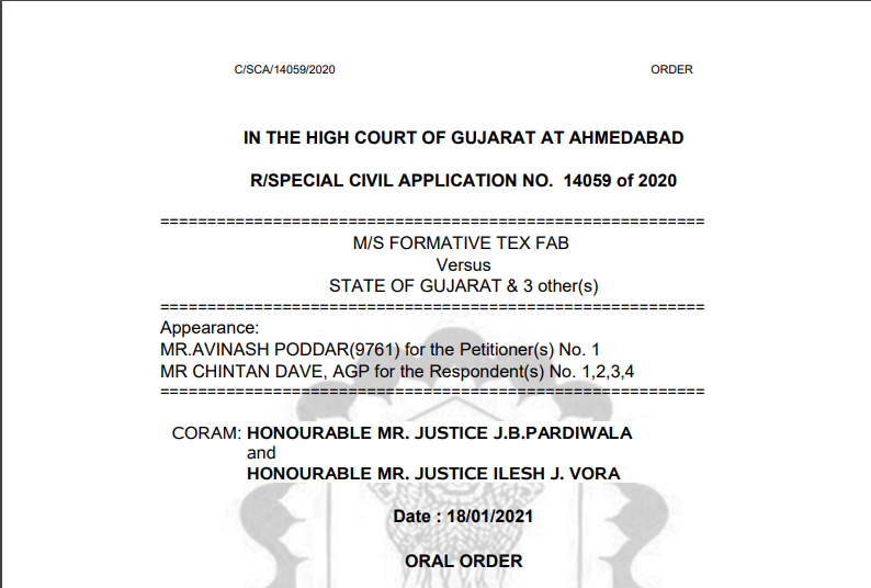 Gujarat HC in the case of M/s Formative Tex Fab Versus State of Gujarat
