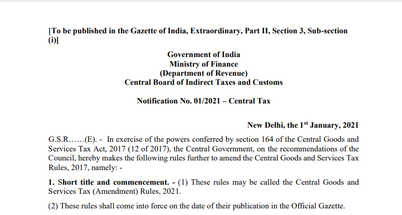 Notification No. 01/2021 – Central Tax