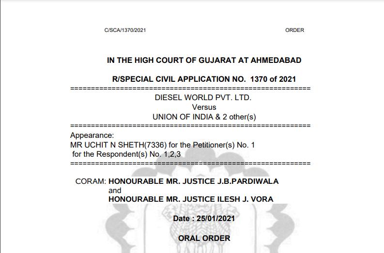 Gujarat HC in the case of Diesel World Pvt. Ltd. Versus Union of India