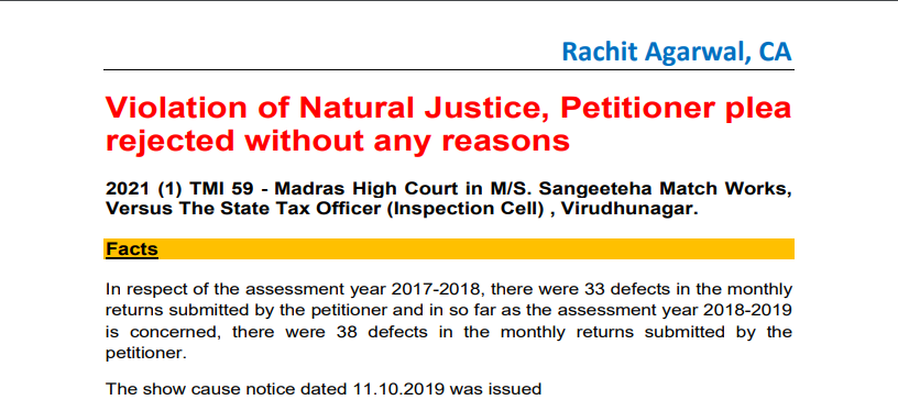 Violation of Natural Justice, Petitioner Plea Rejected Without Any Reasons.