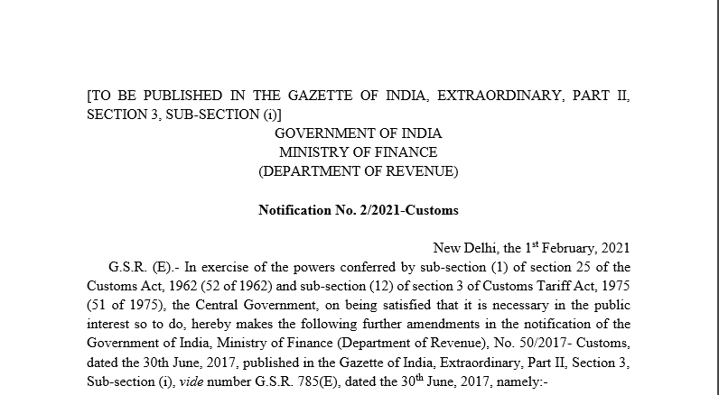 Notification No. 2/2021-Customs