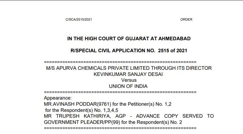 Gujarat HC in the case of M/s Apurva Chemicals Private Limited Versus Union of India