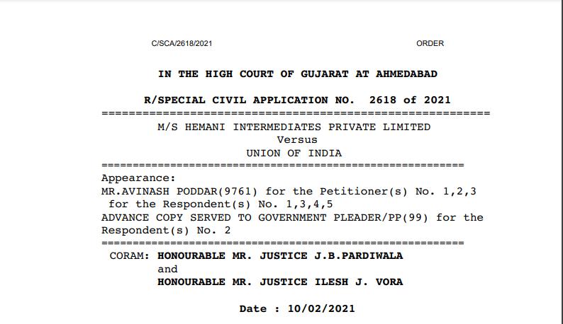 Gujarat HC in the case of M/s Hemani Intermediates Private Limited Versus Union of India