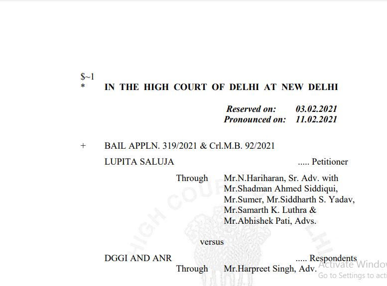Delhi HC in the case of Lupita Saluja Versus DGGI