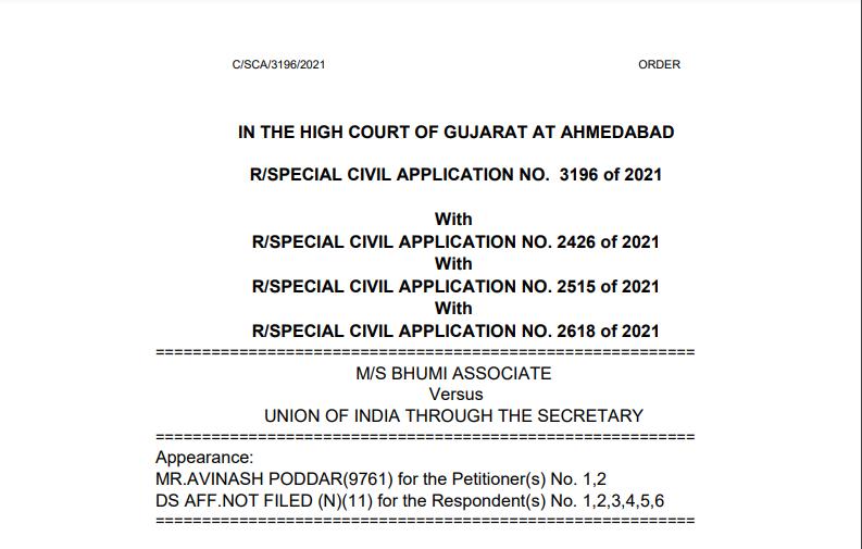 Gujarat HC in the case of M/s Bhumi Associate Versus Union of India