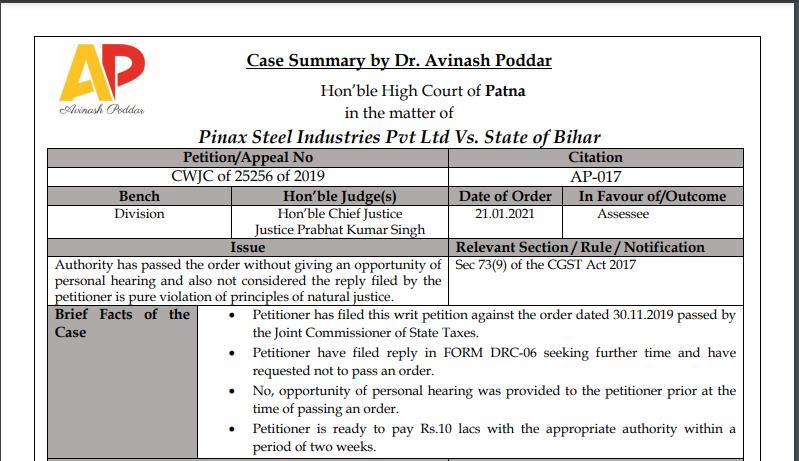 Patna HC in the case of Pinax Steel Industries Pvt Ltd Versus State of Bihar.