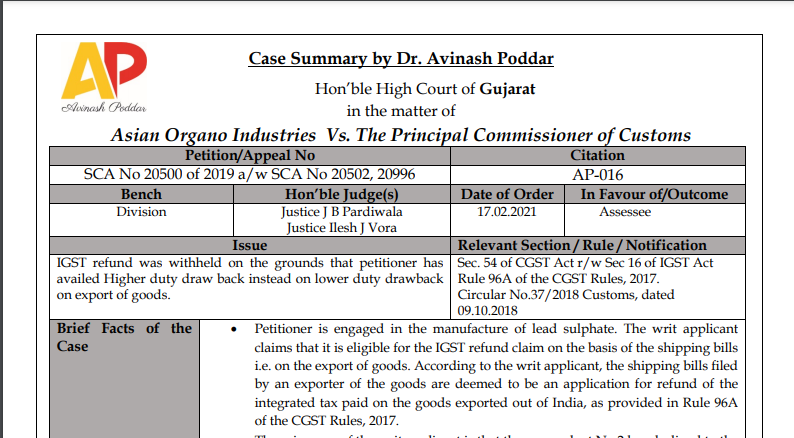 Gujarat HC in the case of Asian Organo Industries Versus The Principal Commissioner of Customs